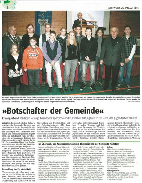 Ehrenabend der Gemeinde Karlstein 2011, Main-Echo v. 26.01.2011