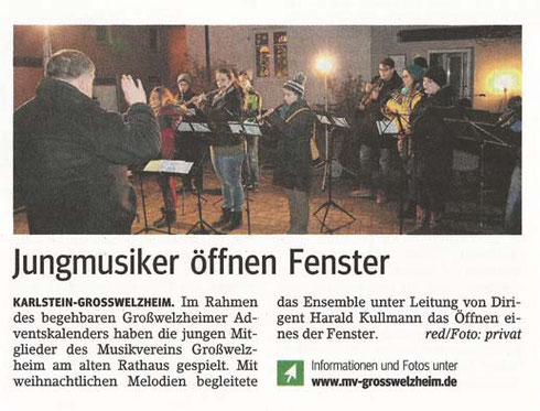 Adventsfenster des Fördervereins 2013, Main-Echo v. 30.12.2013