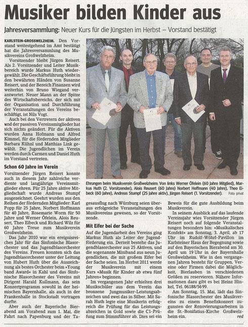 Jahreshauptversammlung 2011, Main-Echo v. 31.03.2011
