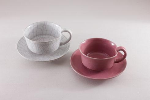 白瓷/桃彩釉 ティーカップ
