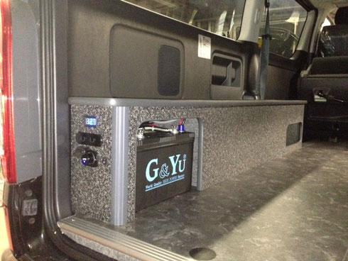 ハイエース ベッドキット サブバッテリー 100V トランポ トランポプロ