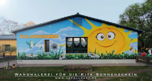 Kindergarten Kita in Fredersdorf mit Kindern Motiv kreativ Graffiti Styling verschönert