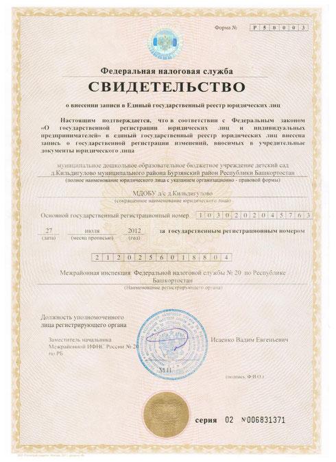 Свидетельство о внесении в Единый государственный реестр юридических лиц