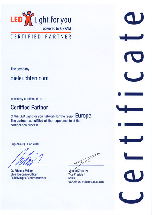 Osram LED Light for you Certificate dieleuchten.com