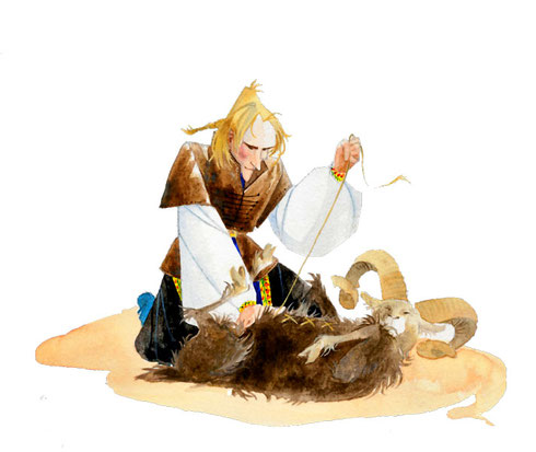 Le chevalier Krak recoud la peau de bouc remplie de sel et de soufre