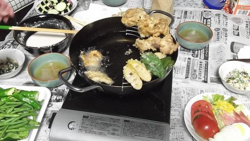 獲れたて野菜で天ぷら