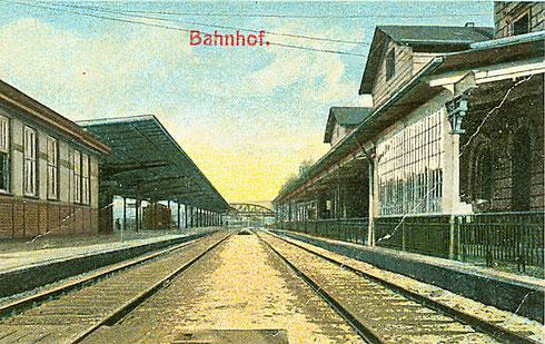 Gleisseite des Personenbahnhofs Siegen ca. 1905