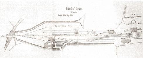 Gleisplan des östlichen Teils des Bahnhofs Siegen mit den Anlagen der BME 1862