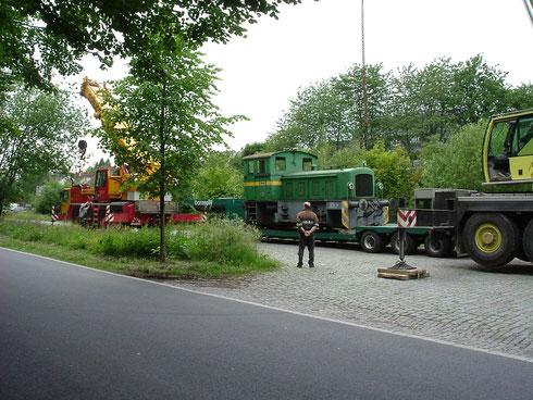 Abb. 5: Ankunft der letzten Waldrich Werkslok am 10.06.2005 am Bahnhof von Waldbröl (Aufnahme Olaf Hof, Niederfischbach).