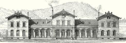 Ansicht des Siegener Bahnhofsgebäudes aus dem Jahre 1861 (Lithographie von Jakob Scheiner)