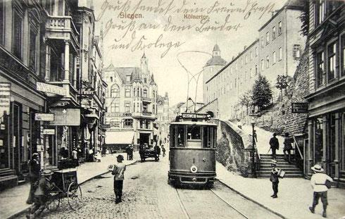 Wagen 1 am Kölner Thor fährt 1914 nach Geisweid