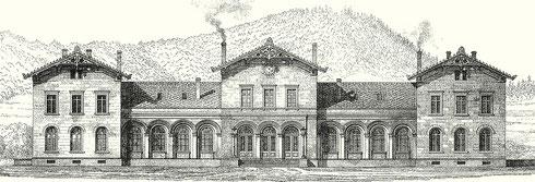 1862: Das Stationsgebäude in Siegen nach einer Zeichnung von Jakob Scheiner