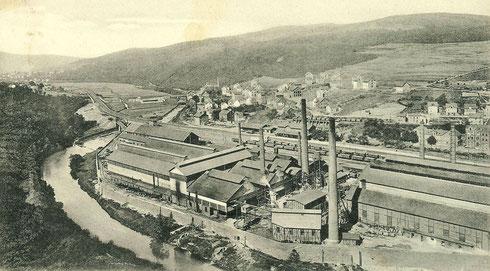 Niederschelden 1906: Charlottenhütte, Hochofen stillgelegt 1966