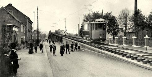 Probefahrt auf der Überführung der Bahngleise in der Hagener Strasse, 1904