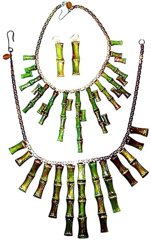 Orecchini Collana Collier Set Bambù Annarita Vitali Vintage Bologna Atelier Manufatti Artistici Creazioni