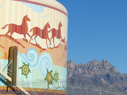 Journey to Tlalocan; An example of water tank murals in southern New Mexico by artist, Anthony Pennock. Completed in 2009.