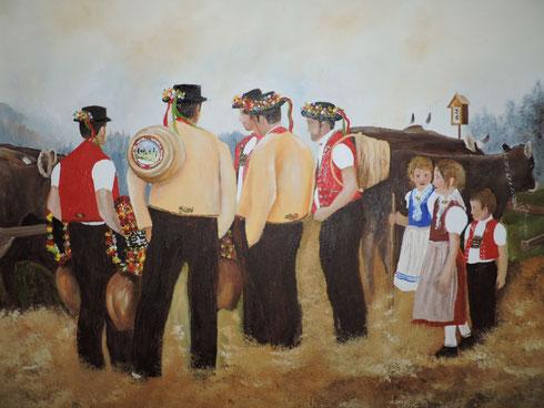 """""""An der Viehschau Nassen""""   Öl auf Leinwand,   50 cm x 40 cm,  in Privatbesitz"""