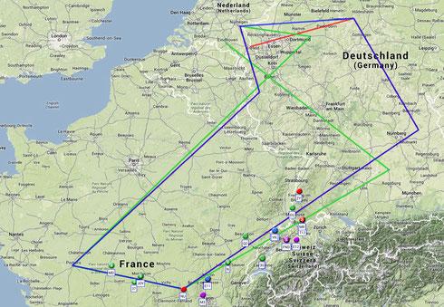 Die Flugroute des Euroglide 2014 im Überblick. Die farbigen Punkte kennzeichnen die Position der Teilnehmer nach dem 2. Wertungstag.