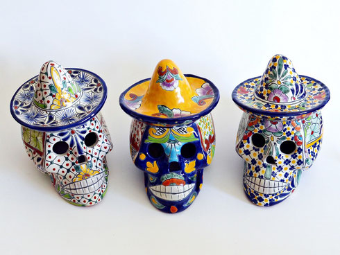 Mexikanische Totenköpfe aus Keramik - Wohndeko
