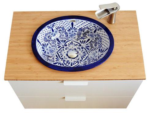 Handbemaltes Waschbecken in Classic-blue