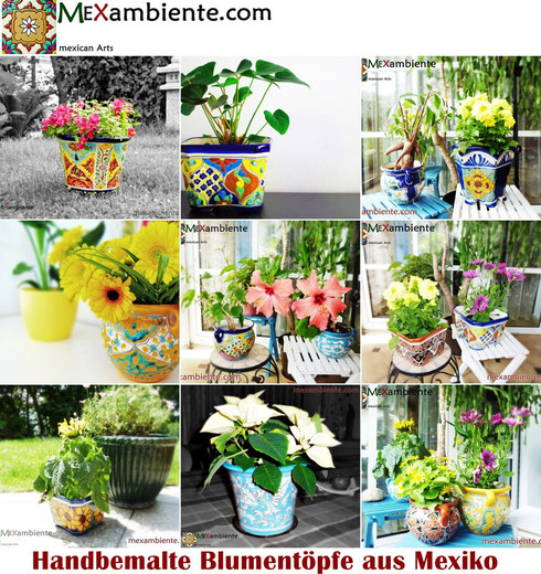 bunte mexikanische handbemalte Pflanzentöpfe oder Blumentöpfe