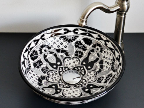 handpainted mexican talavera sink in black and white