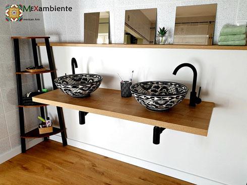 Schwarze Waschbecken aus Keramik, aus Mexiko