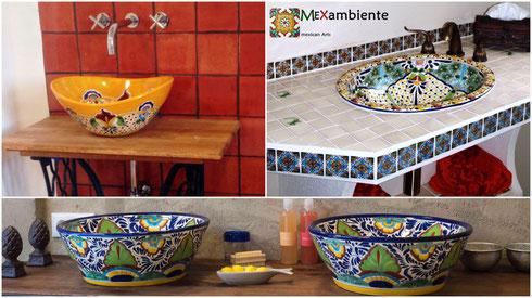 originelle ausgefallene waschbecken mexambiente mexikanische waschbecken bunte fliesen. Black Bedroom Furniture Sets. Home Design Ideas