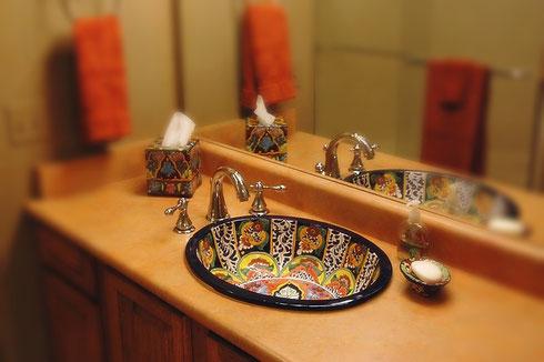 handbemaltes Einbauwaschbecken modell: Fantasia - von Mexambiente