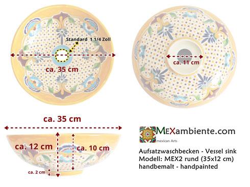 Maße mex2 Waschschale aus Mexiko