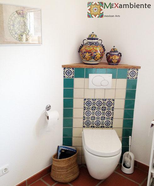 bad ideen mit mexikanischen fliesen mexambiente mexikanische waschbecken bunte fliesen. Black Bedroom Furniture Sets. Home Design Ideas