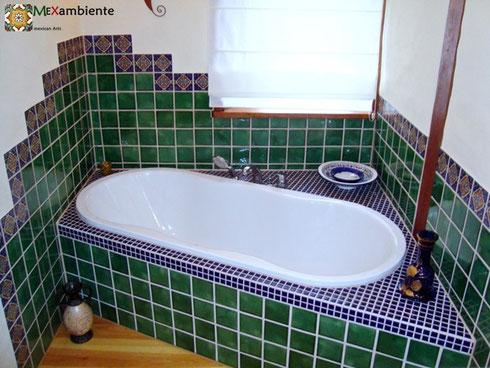 originelle designfliesen mexambiente mexikanische waschbecken bunte fliesen. Black Bedroom Furniture Sets. Home Design Ideas
