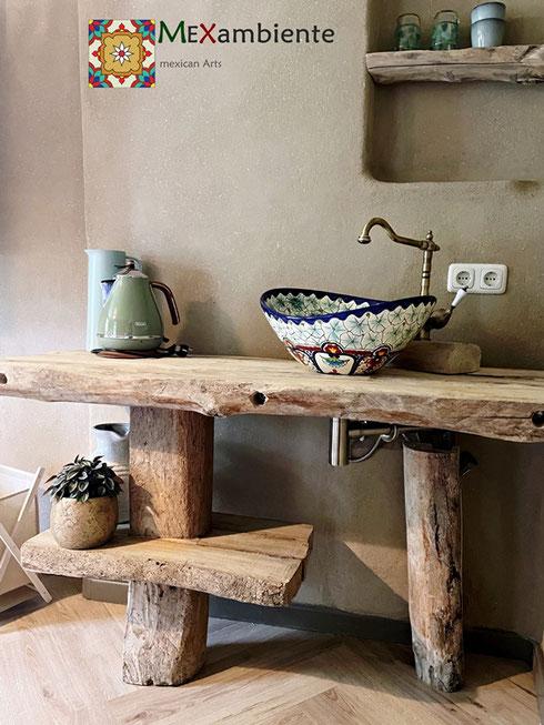 rustik håndvask med mexicansk vask