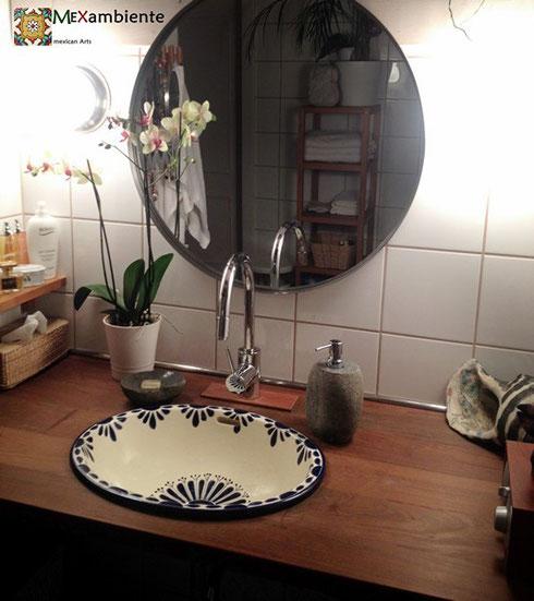 Vintage look handbemalte Einbauwaschbecken