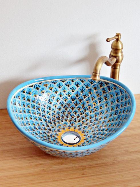 Mexikanisches Aufsatzwaschbecken OVAL - Pavo türkis, handbemalt