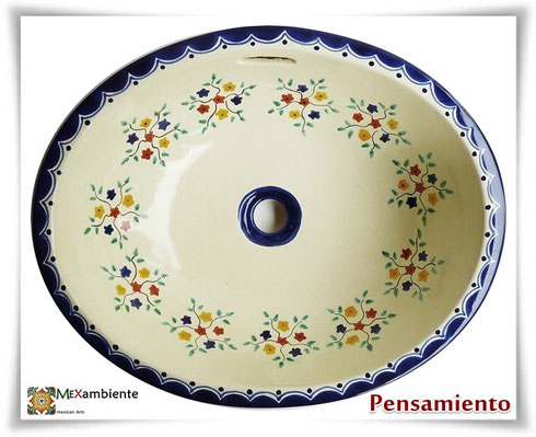 retro desginer Waschbecken handbemalt keramik