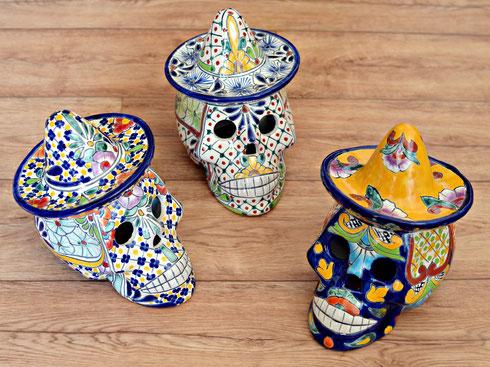 Keramik Totenköpfe aus Mexiko