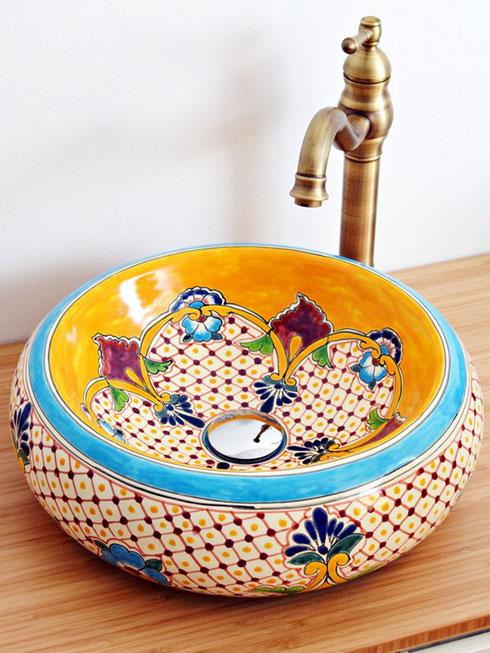 Handwaschbecken aus mexikanischer Keramik