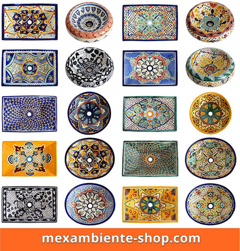 Bunte handbemalte Waschbecken aus Mexiko 2018
