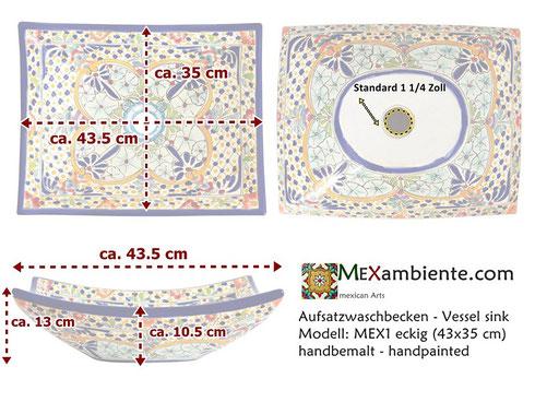 Maße MEX1 Aufsatzwaschbecken