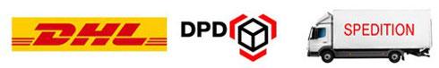 Wir versenden mit DHL/Deutsche Post, Hermes & DPD