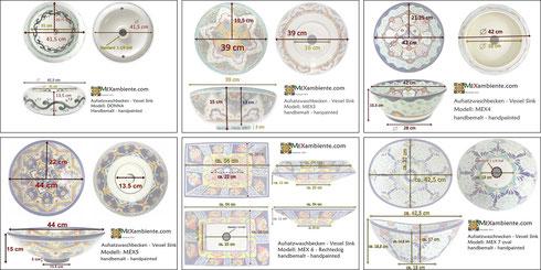 Mexambiente Aufsatzwaschbecken - Maßen & Details