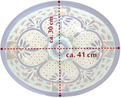 Einbauwaschbecken oval - Maßen