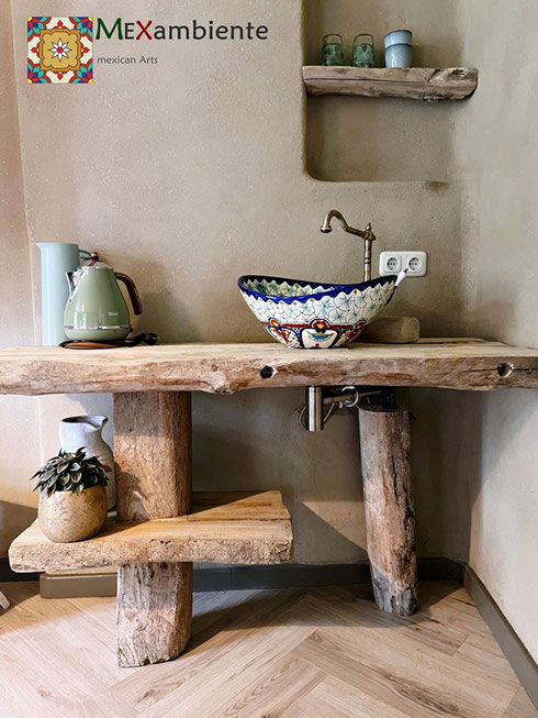 Rustikaler Holz Waschtisch + Mexiko Waschbecken