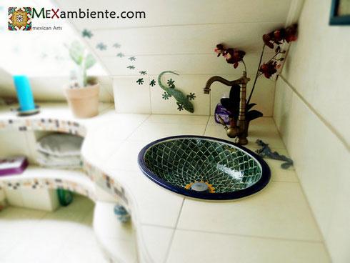 """ausgefallenes Waschbecken aus Keramik """"pavo verde"""" aus Mexiko"""