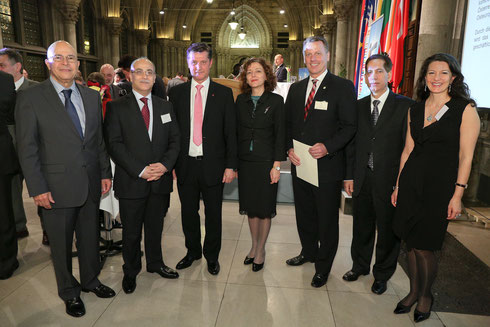 icon vienna 2014 - Welcome Reception with: (left to right) H.E. Antonio Roberto Castellanos Lopez, Ambassador of the Republic Guatemala; H.E. Hussam Al Husseini, Ambassador of the Hashemite Kingdom of Jordan; KR DI Dr. Gerhard Hrebicek, President iconvien
