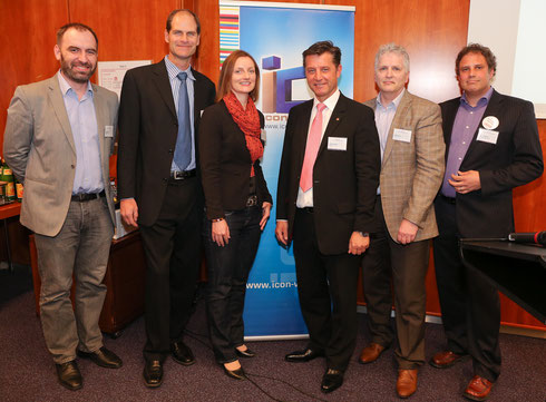 (left to right) Ivan Stefunko, Managing Director Neulogy; Warren Karlenzig, President Common Current; DI Eva Hackl, Deputy Chair iconvienna youLEAD; KR DI Dr. Gerhard Hrebicek, President iconvienna; Dr. Wolfgang Loibl, Smart City Expert AIT