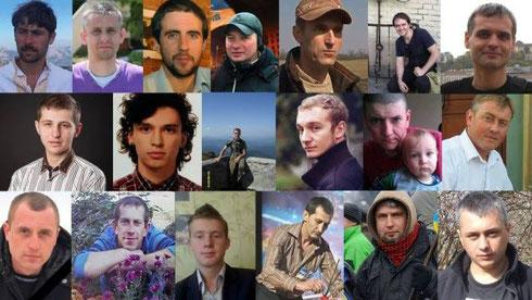 Einige der inzwischen 88 Opfer vom Maidan (Quelle: Facebook.com/EuroMaydan)