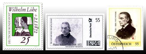 Eine Briefmarke zu Löhes 100. Todestag (1972), zwei zu Löhes 200. Geburtstag (2008)