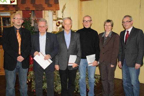 Von links: Dirk Hofmann, Gerhard Specht, Gerhard Schneider, Gerhard Vöpel, Claudia Ravensburg, Karl-Friedrich Frese